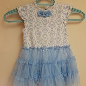 Little Me Blue and white Childs dress